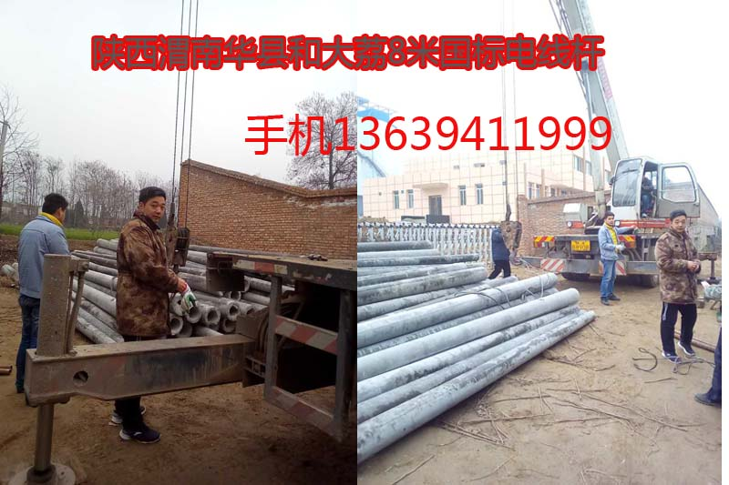 陕西渭南华县通讯工程290根8米水泥电线杆